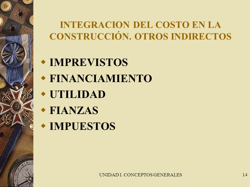 INTEGRACION DEL COSTO EN LA CONSTRUCCIÓN. OTROS INDIRECTOS