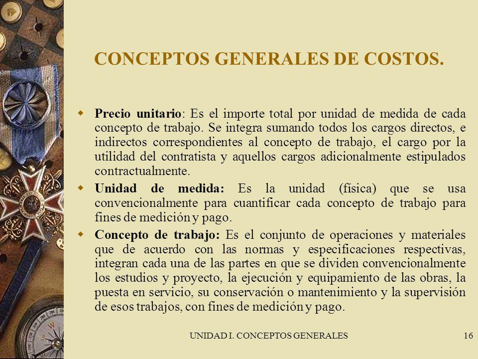 CONCEPTOS GENERALES DE COSTOS.