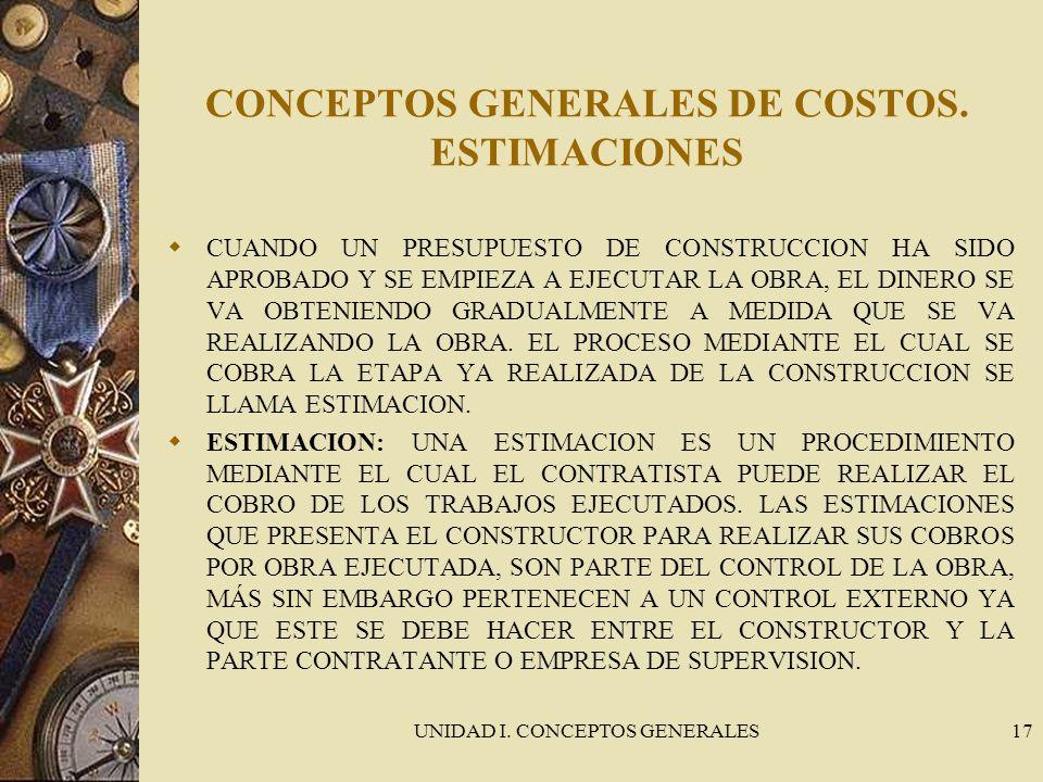 CONCEPTOS GENERALES DE COSTOS. ESTIMACIONES