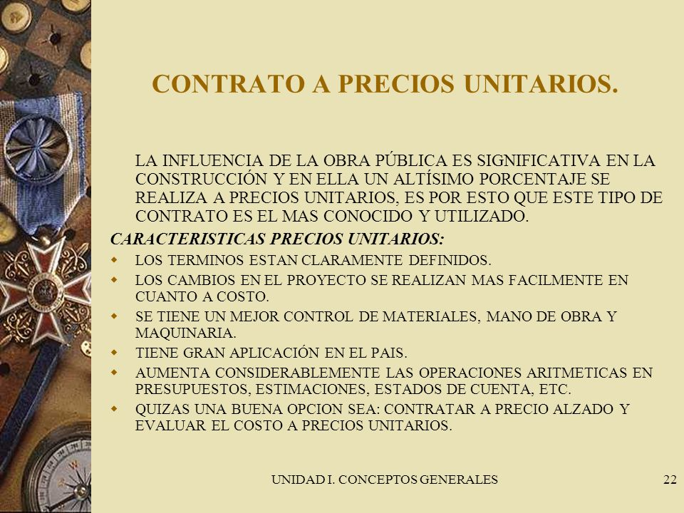 CONTRATO A PRECIOS UNITARIOS.