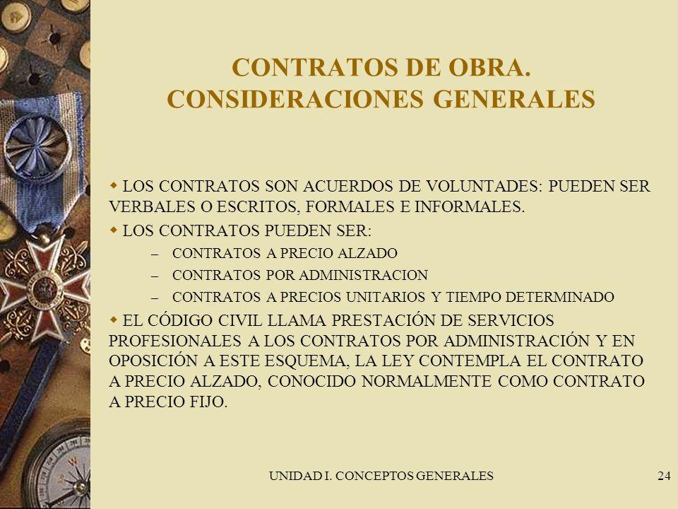 CONTRATOS DE OBRA. CONSIDERACIONES GENERALES