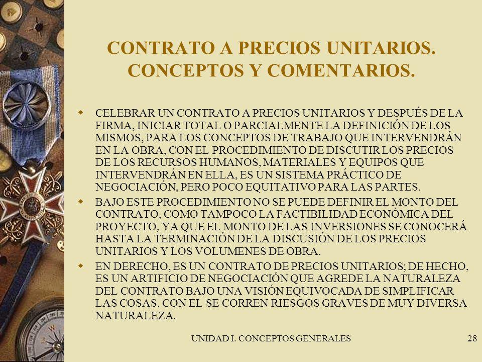 CONTRATO A PRECIOS UNITARIOS. CONCEPTOS Y COMENTARIOS.