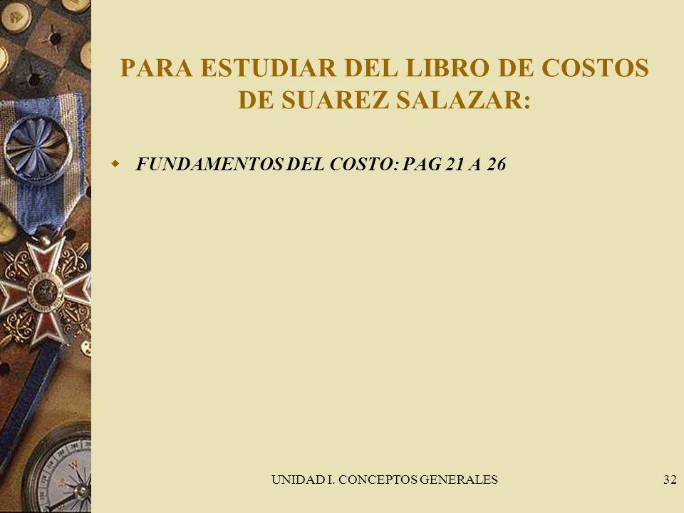 PARA ESTUDIAR DEL LIBRO DE COSTOS DE SUAREZ SALAZAR: