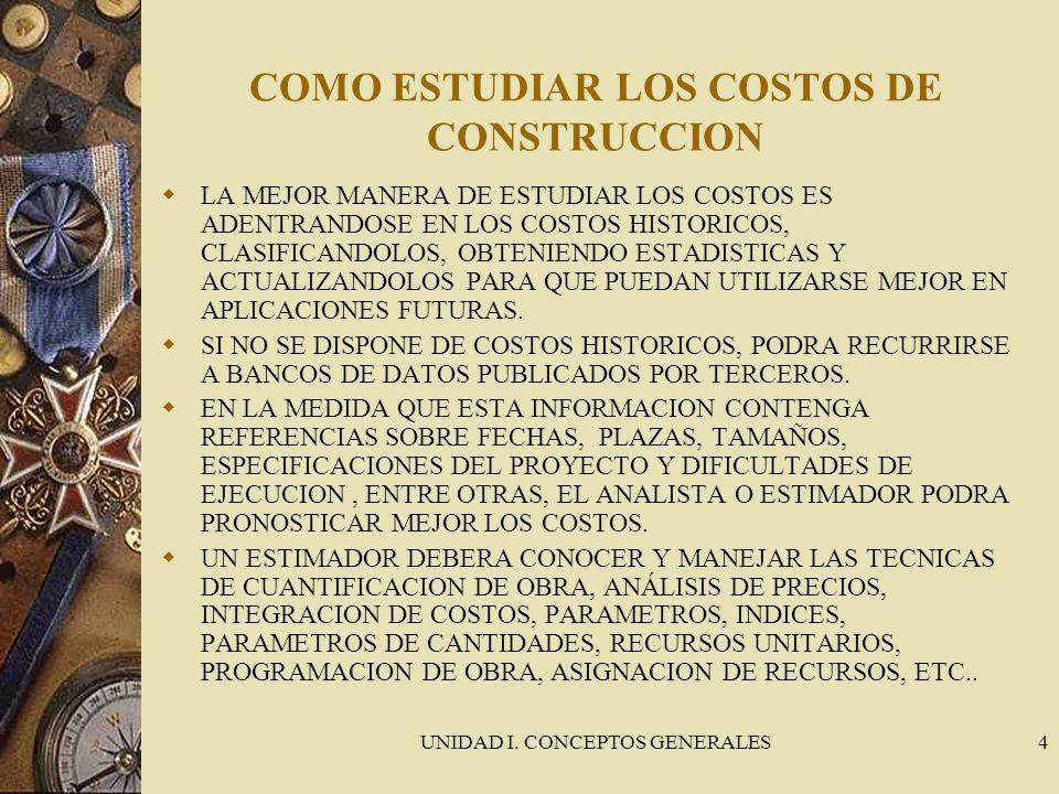 COMO ESTUDIAR LOS COSTOS DE CONSTRUCCION