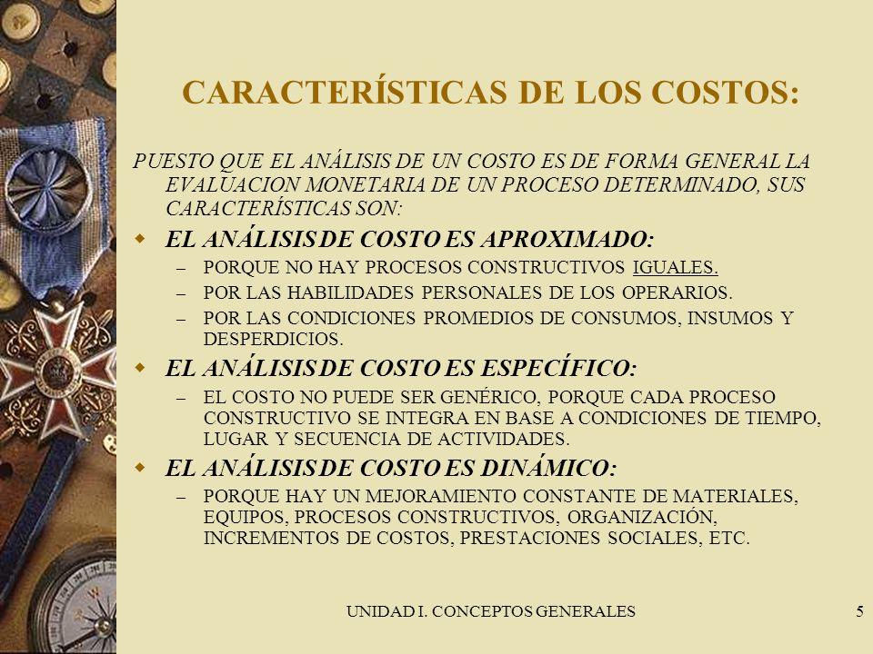 CARACTERÍSTICAS DE LOS COSTOS: