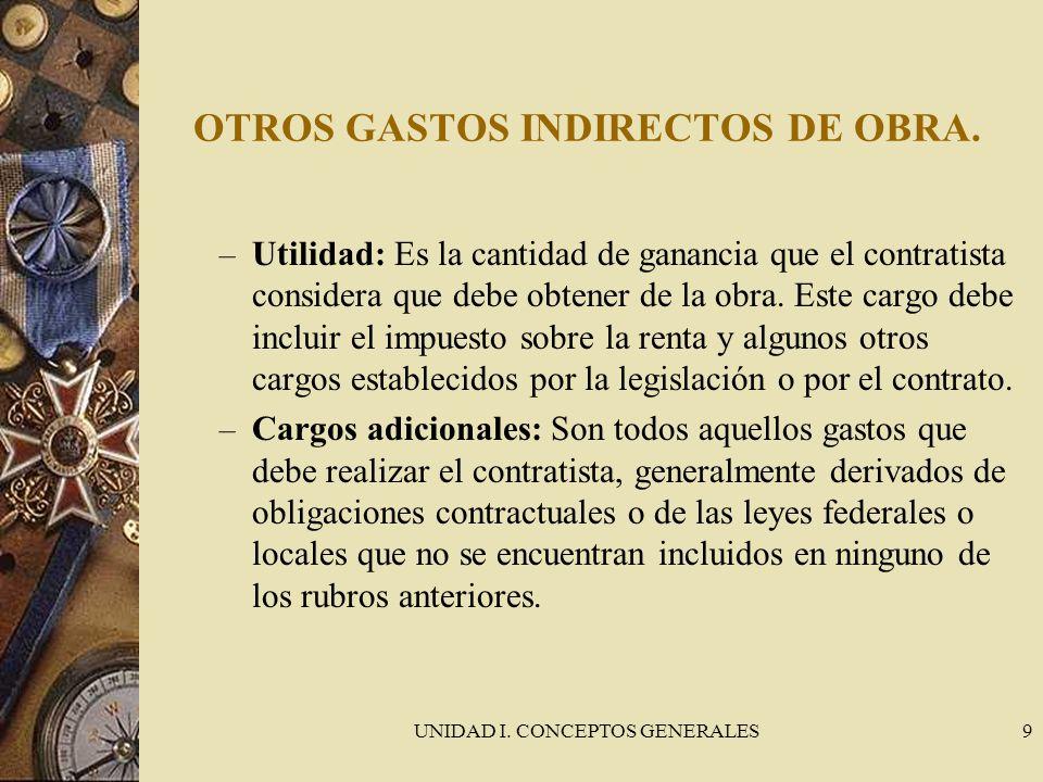 OTROS GASTOS INDIRECTOS DE OBRA.