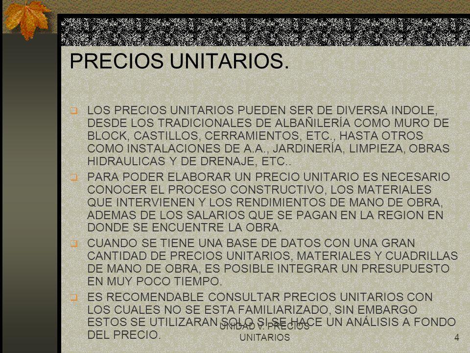 UNIDAD V. PRECIOS UNITARIOS