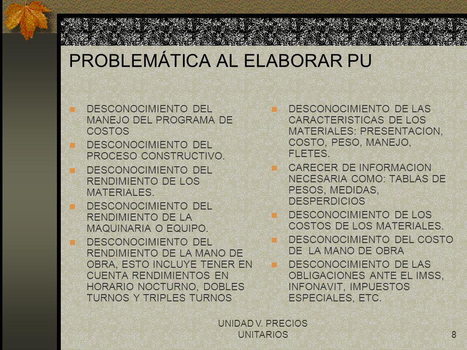 PROBLEMÁTICA AL ELABORAR PU