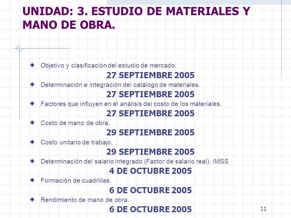 UNIDAD: 3. ESTUDIO DE MATERIALES Y MANO DE OBRA.