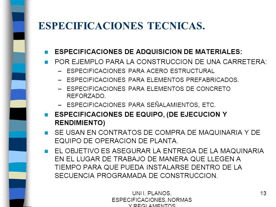 ESPECIFICACIONES TECNICAS.