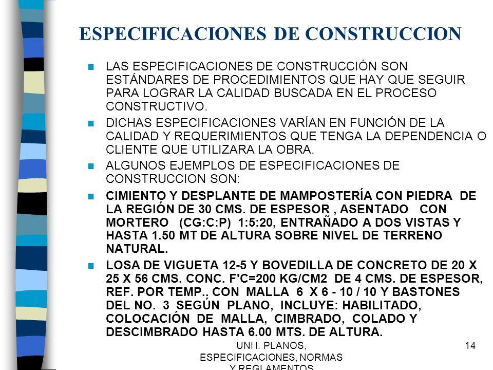 ESPECIFICACIONES DE CONSTRUCCION