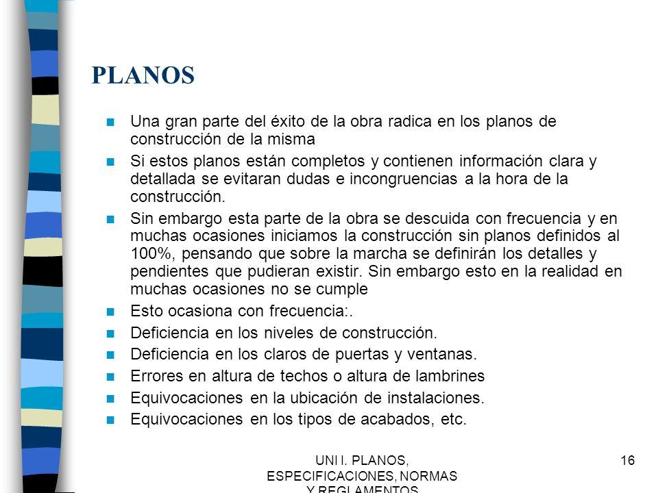 UNI I. PLANOS, ESPECIFICACIONES, NORMAS Y REGLAMENTOS