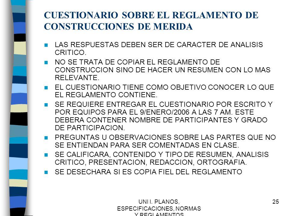 CUESTIONARIO SOBRE EL REGLAMENTO DE CONSTRUCCIONES DE MERIDA