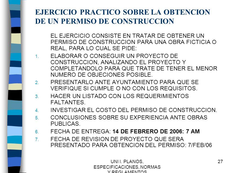 EJERCICIO PRACTICO SOBRE LA OBTENCION DE UN PERMISO DE CONSTRUCCION
