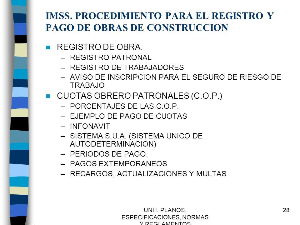 IMSS. PROCEDIMIENTO PARA EL REGISTRO Y PAGO DE OBRAS DE CONSTRUCCION