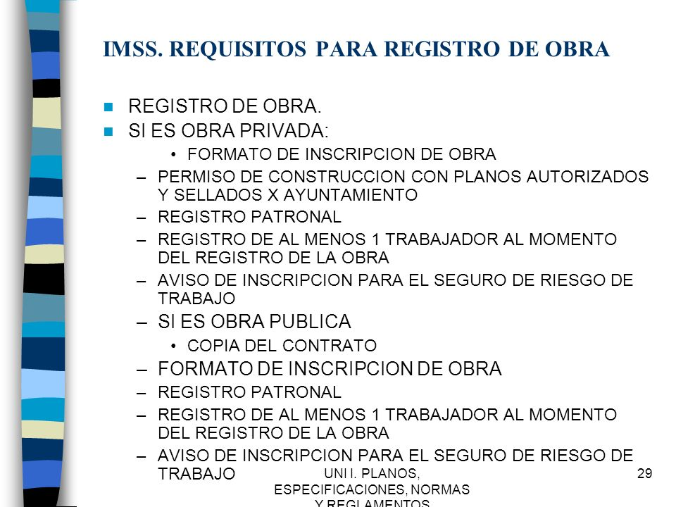 IMSS. REQUISITOS PARA REGISTRO DE OBRA