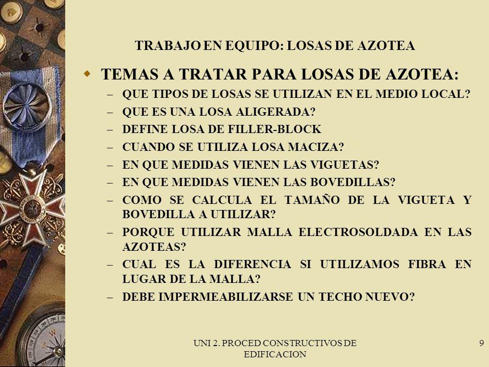 TRABAJO EN EQUIPO: LOSAS DE AZOTEA