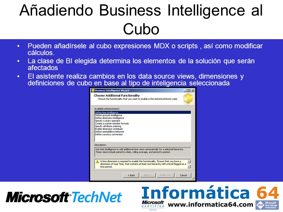 Añadiendo Business Intelligence al Cubo