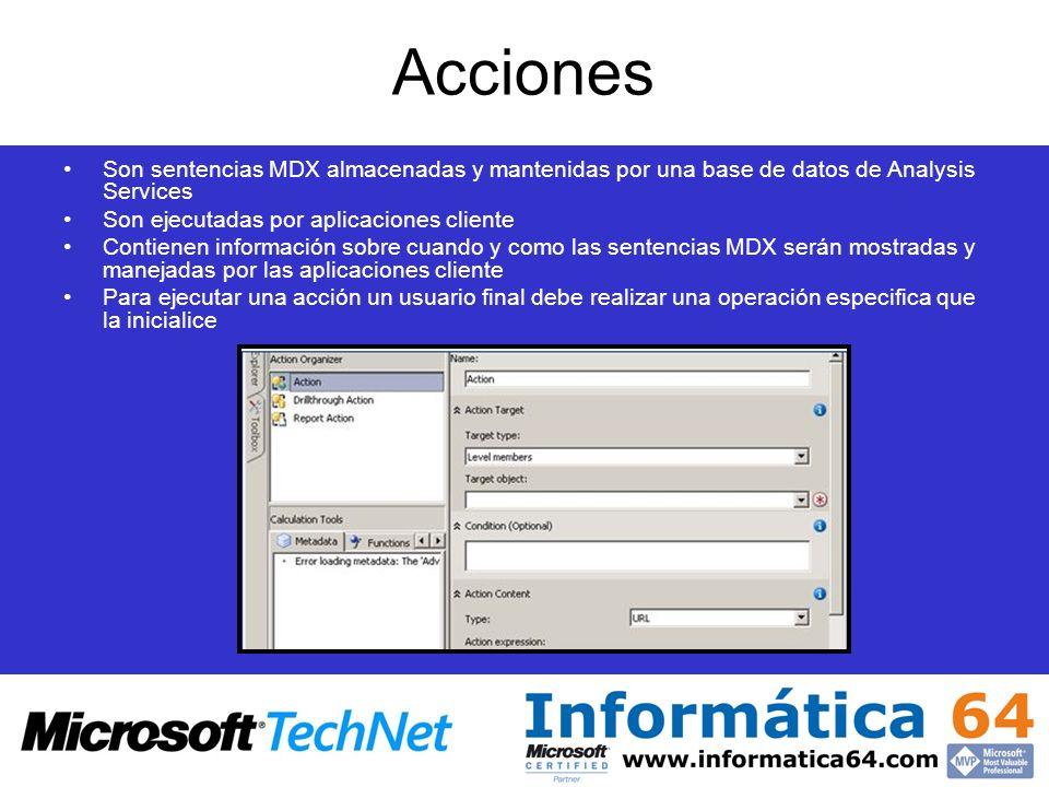 Acciones Son sentencias MDX almacenadas y mantenidas por una base de datos de Analysis Services. Son ejecutadas por aplicaciones cliente.