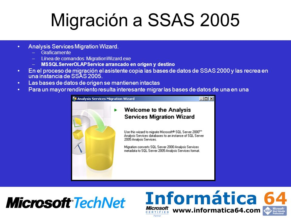 Migración a SSAS 2005 Analysis Services Migration Wizard.