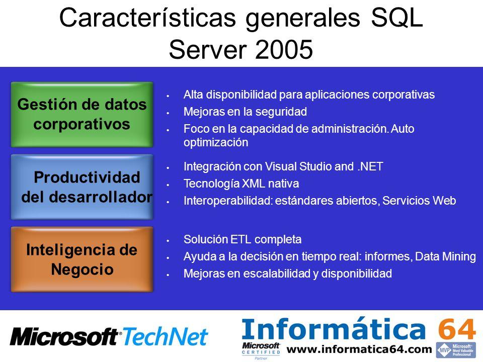Características generales SQL Server 2005