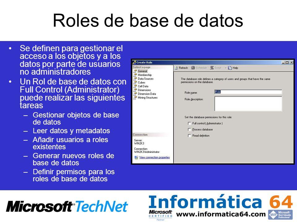 Roles de base de datos Se definen para gestionar el acceso a los objetos y a los datos por parte de usuarios no administradores.