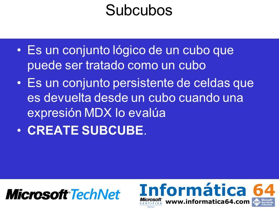 SubcubosEs un conjunto lógico de un cubo que puede ser tratado como un cubo.