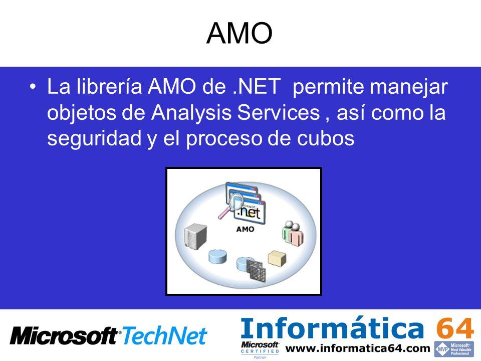 AMOLa librería AMO de .NET permite manejar objetos de Analysis Services , así como la seguridad y el proceso de cubos.