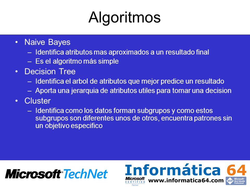 Algoritmos Naive Bayes Decision Tree Cluster
