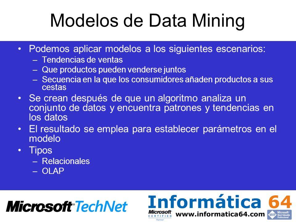 Modelos de Data Mining Podemos aplicar modelos a los siguientes escenarios: Tendencias de ventas. Que productos pueden venderse juntos.