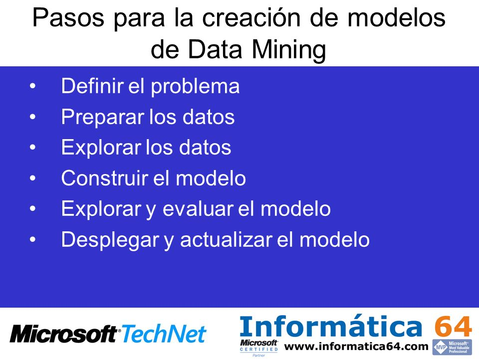 Pasos para la creación de modelos de Data Mining