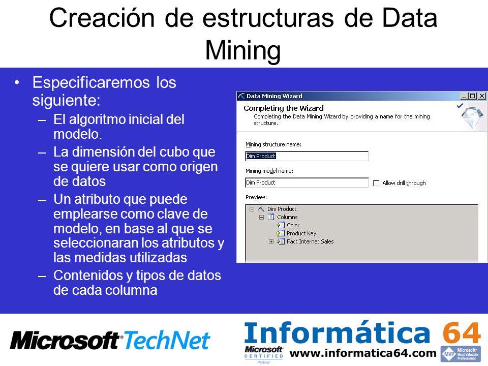 Creación de estructuras de Data Mining