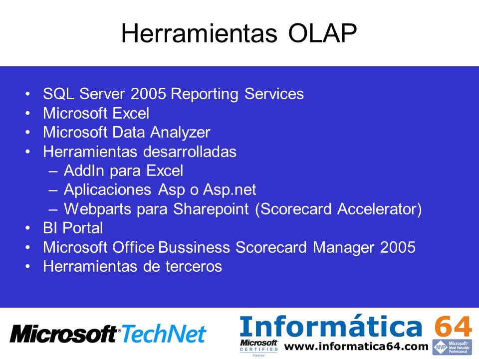 Herramientas OLAP SQL Server 2005 Reporting Services Microsoft Excel