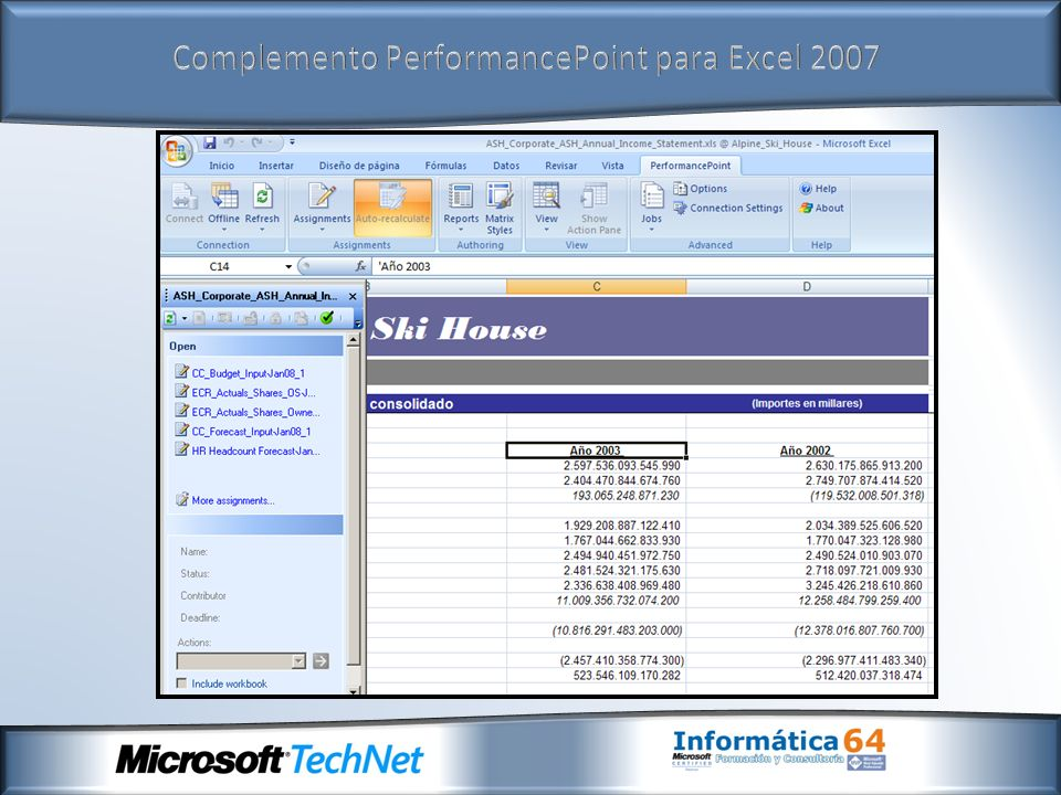 Complemento PerformancePoint para Excel 2007