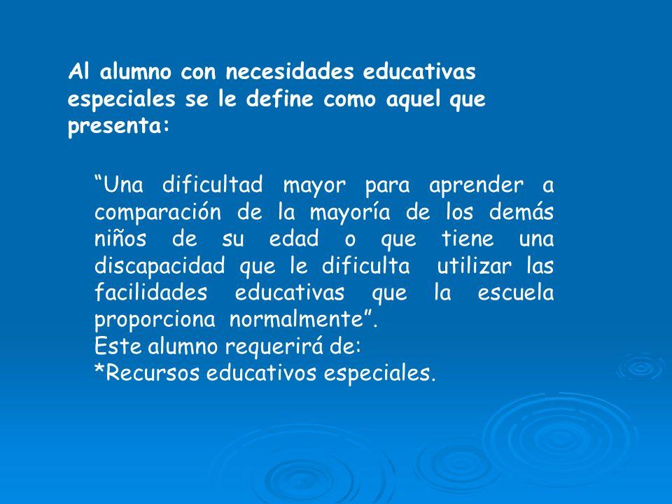 Al alumno con necesidades educativas especiales se le define como aquel que presenta: