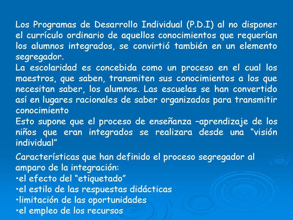 Los Programas de Desarrollo Individual (P. D