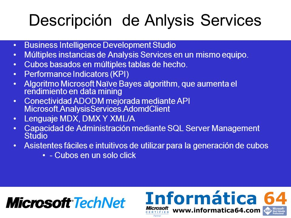 Descripción de Anlysis Services