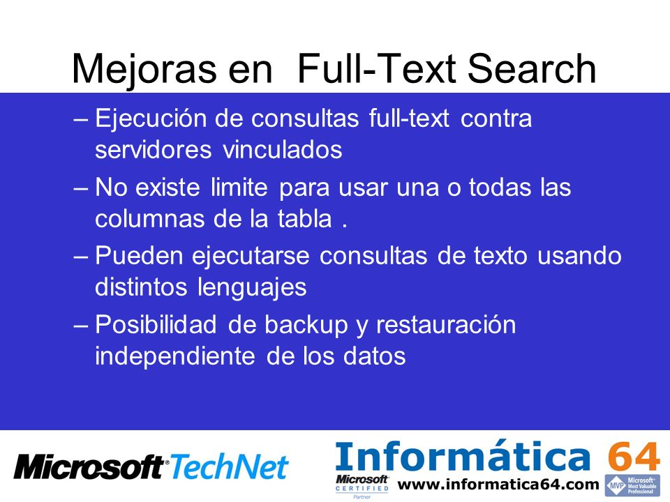 Mejoras en Full-Text Search