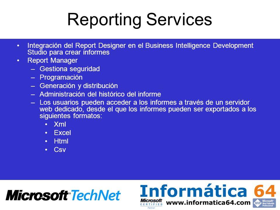 Reporting ServicesIntegración del Report Designer en el Business Intelligence Development Studio para crear informes.