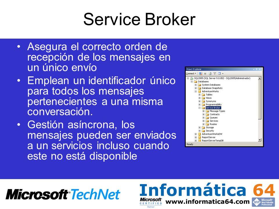 Service Broker Asegura el correcto orden de recepción de los mensajes en un único envío.