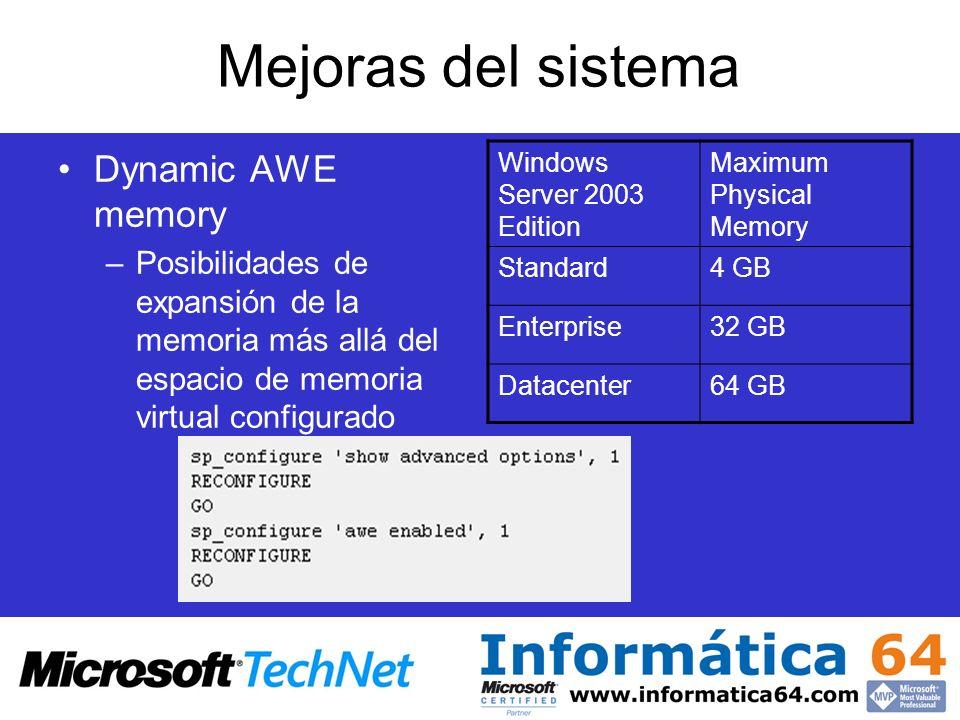 Mejoras del sistema Dynamic AWE memory