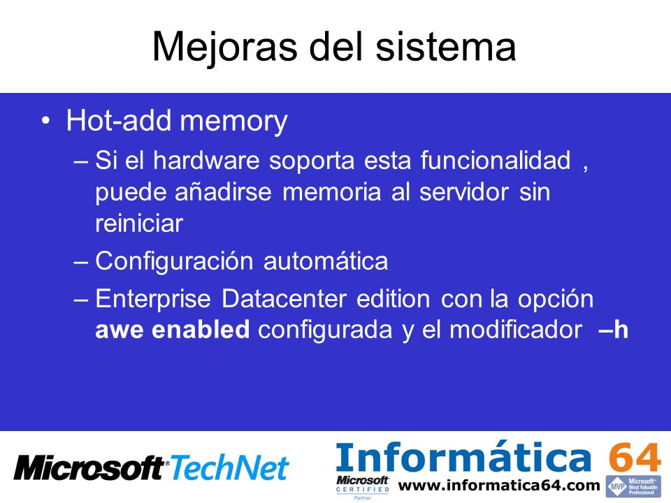 Mejoras del sistema Hot-add memory