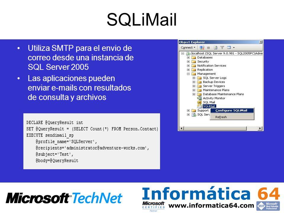 SQLiMailUtiliza SMTP para el envio de correo desde una instancia de SQL Server 2005.