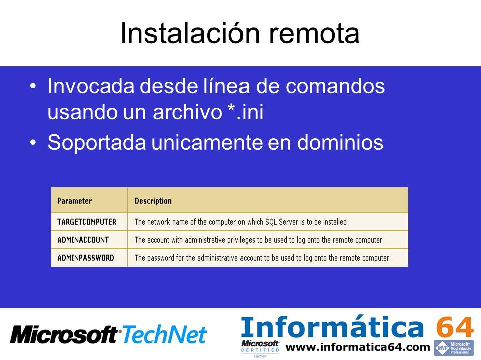 Instalación remota Invocada desde línea de comandos usando un archivo *.ini.