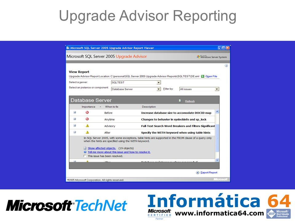 Upgrade Advisor Reporting