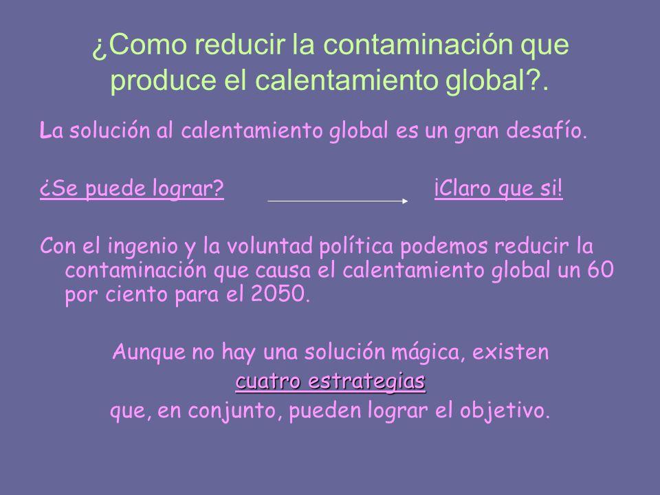 ¿Como reducir la contaminación que produce el calentamiento global .