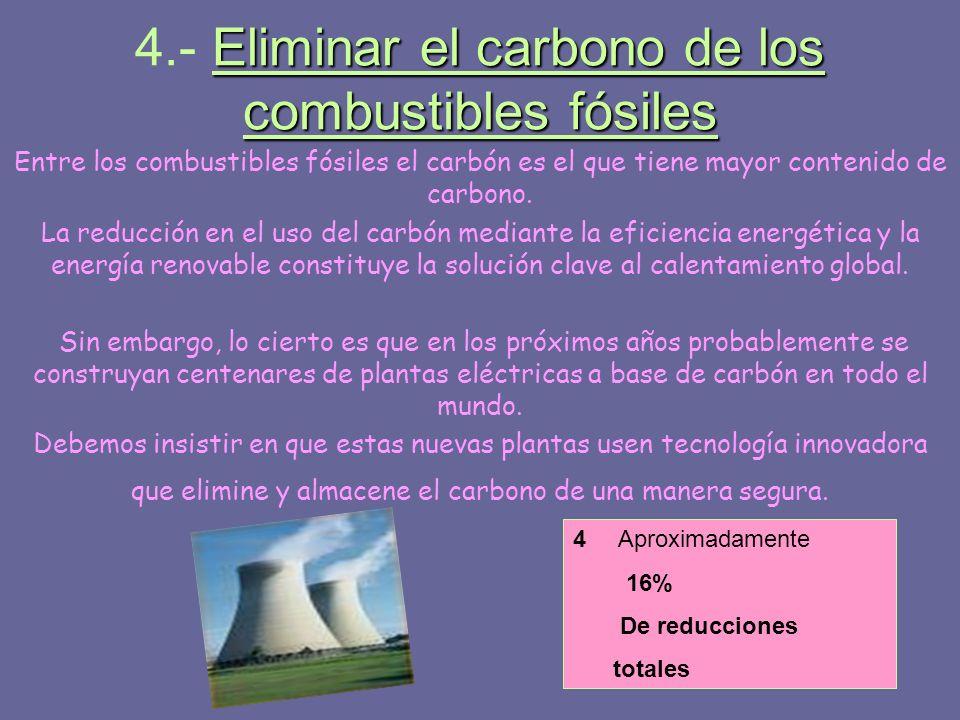 4.- Eliminar el carbono de los combustibles fósiles