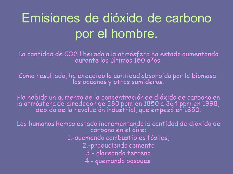 Emisiones de dióxido de carbono por el hombre.