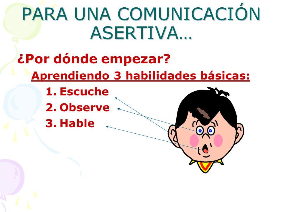 PARA UNA COMUNICACIÓN ASERTIVA…