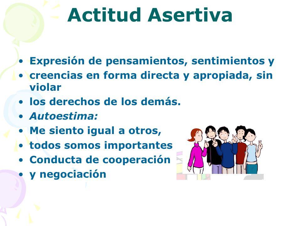 Actitud Asertiva Expresión de pensamientos, sentimientos y